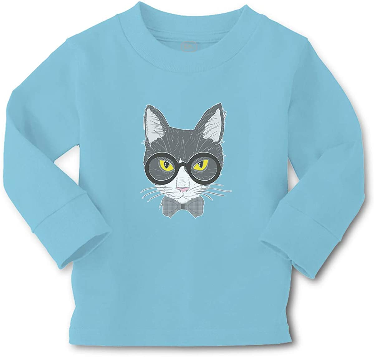 Kids Long Sleeve T Shirt Staring Cat with Sunglass Cotton Boy & Girl Clothes Funny Graphic Tee Light Blue Design Only 4T