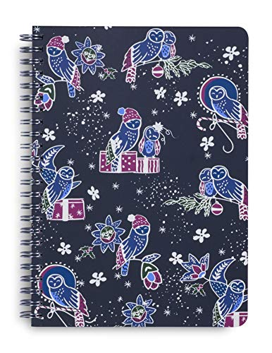Vera Bradley Holiday Mini Spiral Notebook, 8.25' x 6.25' with Pocket and 160 Pages, Owl