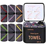 """Dofilachy 6 Pack Camping Towel - Camping Towels Quick Dry Towel Microfiber Travel Sports Towel for Camp Bath Beach Swim with Camping Accessories Bag Pack Towel, Large 24"""" x 48""""(Black, 6 - Pack)"""