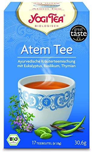 YOGI TEA® 3x Atem-Tee Bio Yogi Tee I frisch-würziger ayurvedischer Tee I Gewürz-Tee-Mischung mit Eukalyptus Basilikum Thymian uvm. I Bio-Qualität - 3x 17 Teebeutel I Bio Kräutertee 3 Päckchen