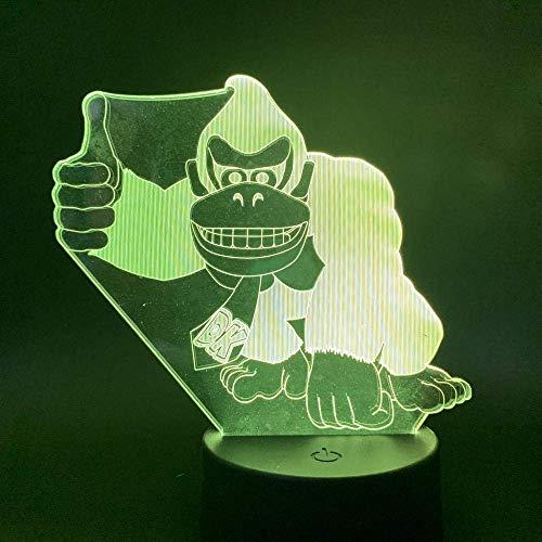 3D Illusion Lamp Led Night Light Bambini Child Bedroom Decor Gioco Donkey Kong Touch Switch Usb Batteria Dk Gorilla Table Lamp