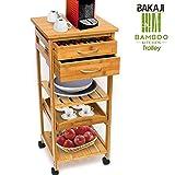 BAKAJI Carrello Cucina in Legno di bambù con Ripiano Top Solido Tagliere utile per appogg...