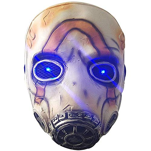 Strnry Spiel Borderlands 3 Psycho Cosplay Maske Latex LED-Licht Für Erwachsene Requisiten Kostümparty Halloween Kostümball,Glow