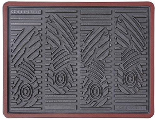 CarFashion 258281 PUR|SchuhCheck, Schuhmatte Innen, Abtropfmatte, dekorative Umrandung in rot-metallic, Abtropfschale Schuhe, Größe ca. 52 x 39 cm, Schuhmatte Plastik, Schuhmatte Auto