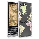 kwmobile Carcasa Compatible con Blackberry KEYtwo (Key2) - Funda Silicona TPU Mapa Mundial Negro/Multicolor/Transparente