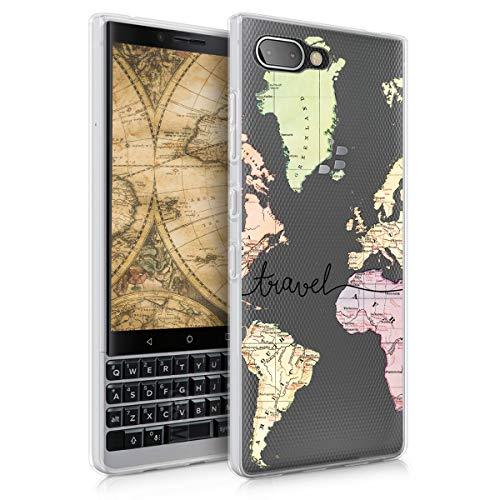 kwmobile Hülle kompatibel mit BlackBerry KEYtwo (Key2) - Hülle Silikon transparent Travel Schriftzug Schwarz Mehrfarbig Transparent