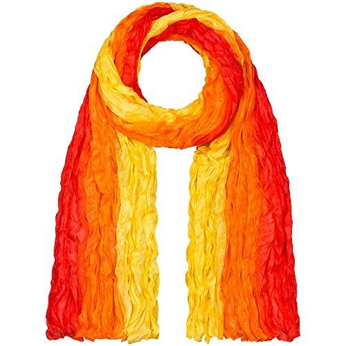 Japanwelt Seidentuch elegantes Damen Halstuch Crash-Schal 100% Seide silkroad 90 x 180 cm Verlauf Gelb Orange Rot