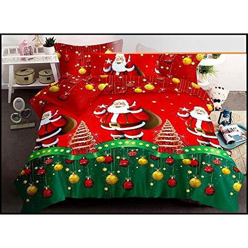 Fashion Home Santa Duvet Cover Set Christmas Fun with Santa - 3/4 pcs - Multicoloured - - 100% Linen Coton Satin - Santa Sleigh&Snowy Red (Red, King)