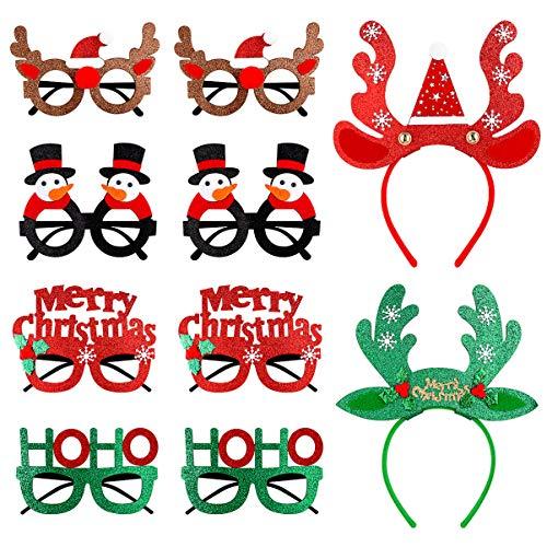 PRETYZOOM 10Pcs Weihnachten Stirnbänder Weihnachten Brillengestelle mit Rentiergeweih Schneemann Hoho Weihnachtsbaum Design für Weihnachten Urlaub Party Begünstigt Dekorationen Kostüm Foto