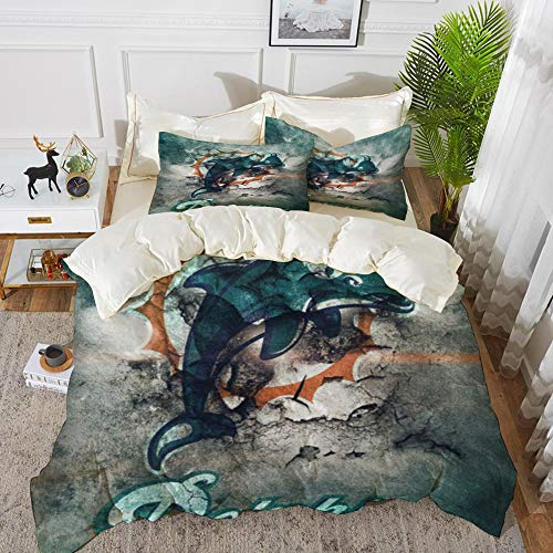 Tuoye Duvet Cover Set, Bed Sheets Bedding,Rugby team Miami Dolphins Messy abstract background Artistic creative theme,1 Duvet Cover Set 240 * 260+2 pillowcase 50x80cm