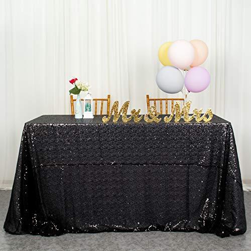 Mantel de lentejuelas negro de 122 x 200 cm, cubierta de mesa para boda, mantel rectangular brillante, mantel negro para fiestas, faldas de mesa para mesas rectangulares