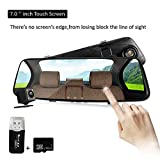 Mirror Dash Cam,1080P Backup Car Camera Video Recorder 7inch Touch Display,Dual Lens Front And Back cam, 150 Degree Wide Lens With G-Sensor Loop Recording Parking Monitoring,16GB SD Card Included