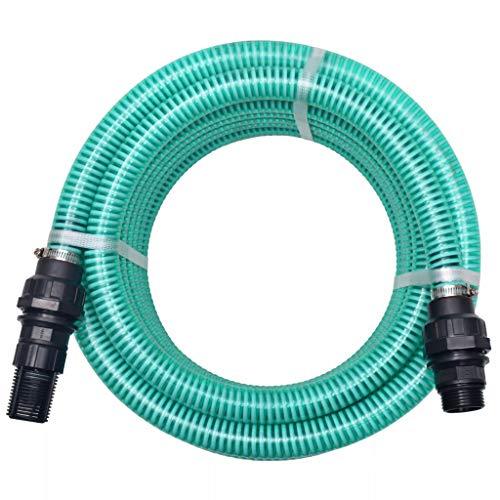 UnfadeMemory Conjunto de Manguera de Succión con Conectores y Válvula de Pie con Filtro,PVC (Verde, 4m 22mm)