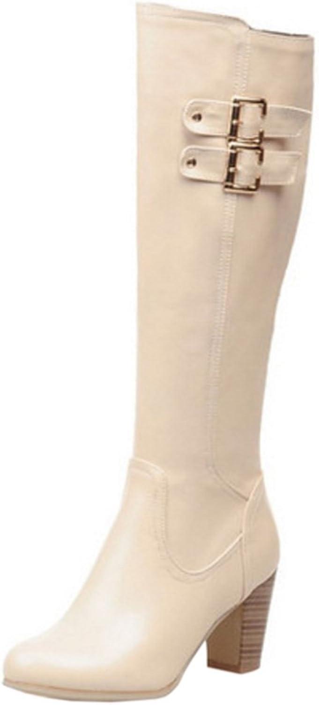 AicciAizzi Women Classic Buckle Knee Boots Block High Heel