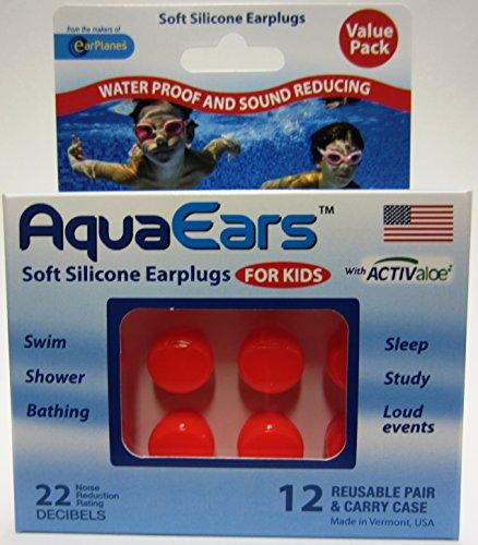 Aqua Ears® Kids Soft Silicone Earplugs 12 Pair (Orange)