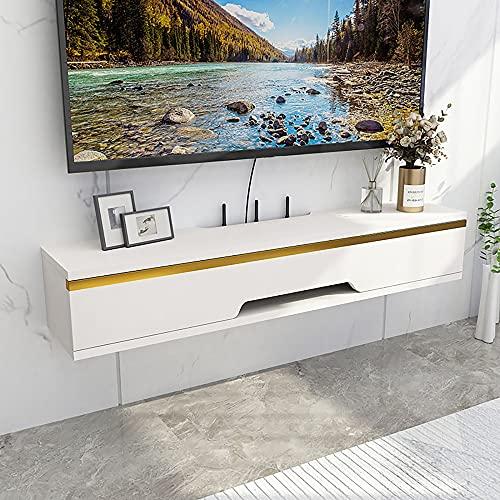Mueble de TV Flotante, Mueble TV de Pared de madera maciza mate, para oficina en casa cajas de cable enrutadores reproductores de DVD/C / 70cm