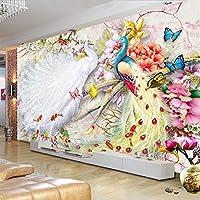 HGFHGD 水彩孔雀の花3D壁画壁紙リビングルーム寝室の背景壁家の装飾壁ステッカー壁アート装飾