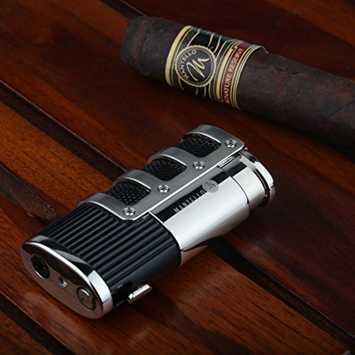 Mantello Catador Triple Jet Flame Butane Lighter - Cigarette Torch Lighter with Tobacco Cigar Punch Cutter - Premium Smoking Accessories & Gifts - Refillable Tank, Adjustable Gas Knob, Windproof Fire