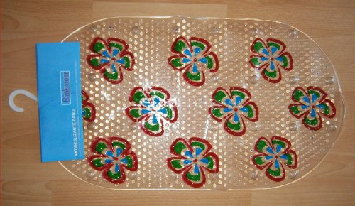 BADEWANNENEINLAGE transparent 66x38cm BLUMEN Wanneneinlage Antirutschmatte Duschmatte Badematte 81