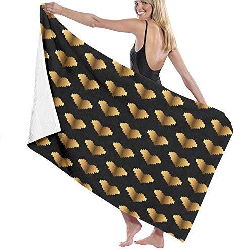 Dice Gold Heart Strandtücher schnell trocknend Duschtuch waschbar Mehrzweck-Duschtuch leicht Badetuch groß Badetuch für Damen Herren Kinder Mädchen Jungen