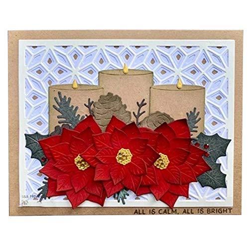 Kinnart Stanzformen, Stanzformen für Karten, Kerzen-Blumen-Stanzformen DIY Scrapbook Prägung Papier Karten Album Schablone, Karbonstahl, Silver