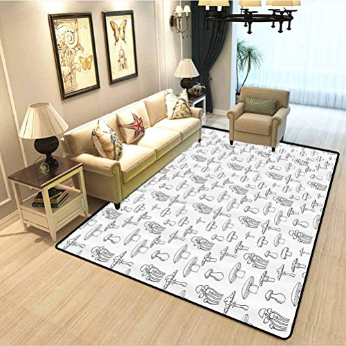 Mushroom Contemporary Area Rug Collection of Different Mushrooms Doodle Style Monochrome Display Organic Garden Children Education Learning Carpet Black White W6xL7 Feet