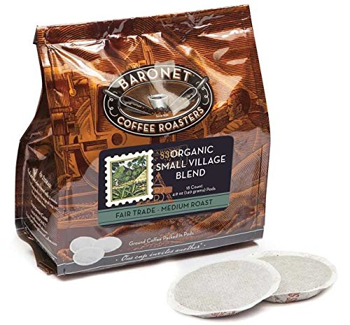 Baronet Coffee Fair Trade Organic Small Village Blend Coffee Pods Bag, 54 Count