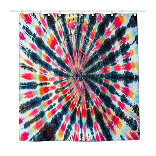 Duschvorhang, Tribal-Batik-Optik, wasserdicht, Polyestergewebe, Duschvorhänge für Badezimmer, mit 12 langlebigen Kunststoffhaken, 183 x 183 cm