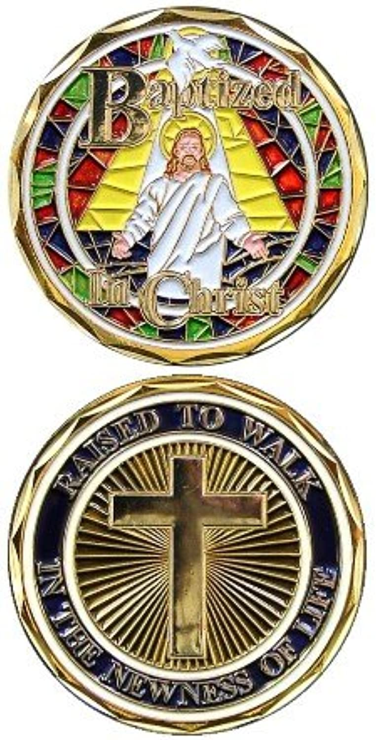 Jesus Christ Stained Glass Bible Religious Baptism w  Cross - Good Luck Double Sided Collectible Challenge Pewter Coin