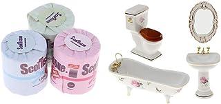 Toygogo Juego De Baño De Cerámica En Miniatura con Muebles De Papel Higiénico 1/12 Kits De Casa De Muñecas