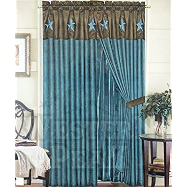Rustic Luxury Western Star Design Embroidery Curtain Lining with Tassels (Brown Turquoise)