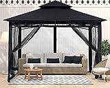 ABCCANOPY 10x10 Patio Gazebo for Patio Double Roof Soft Canopy with Netting Garden Backyard Gazebo for Shade and Rain, Black