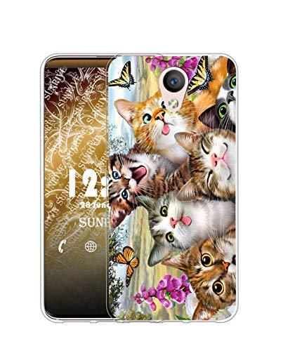 Sunrive Cover Compatibile con Meizu M5S, Custodia Case in Molle Trasparente Silicone Morbida Flessibile AntiGraffio Protettiva Back custodie(Q Gatto 5)