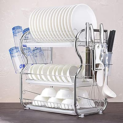 US Fast Shipment 3-Tier Dish Drying Rack,Stainl...