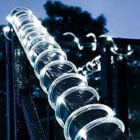 100 luces LED de cuerda solar de 12 metros impermeables de DINOWIN, ideales para jardín, camino, árbol o fiestas, bodas, etc