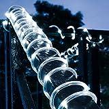 100 luces LED de cuerda solar de 12 metros impermeables de DINOWIN, ideales para jardín, camino,...