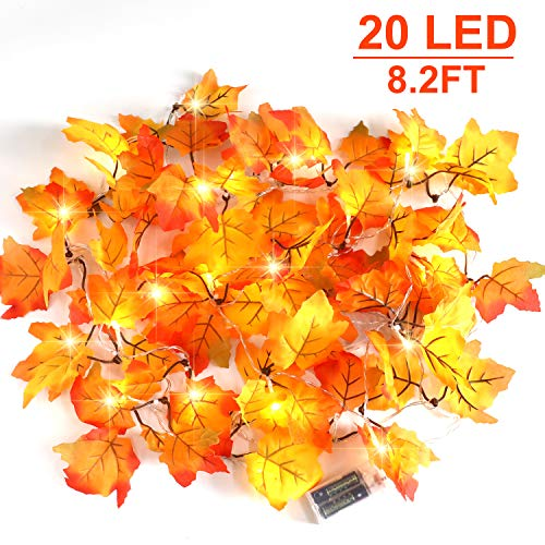 CPPSLEE Christmas Decorations Lighted Fall Garland - Christmas Decor Lights 8.2 ft 20 LED,for Thanksgiving Gift Party Christmas Decorations Waterproof Maple Leaf String Lights