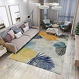QYDF Decoración De Diseo Geometrica Modernos De Moda Habitación Infantil Dormitorio Sala De Estar Pelo Corto Alfombra Patrón De Hoja De Poliéster Amarillo Mostaza Azul,Gris,80x120cm