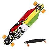 Anfan Longboard 41' 9 Layer Canadian Maple Drop Downhill Speed Complete Skateboard Freeride Longboard for Adult Kids (Red Skull)