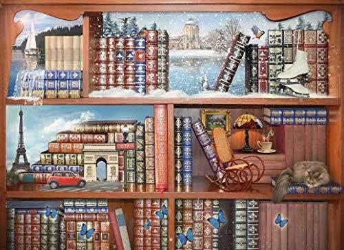NOBRAND Pintar por numeros Adultos Biblioteca Digital de Bricolaje para Colorear Digital acrílico estantería para Adultos con Muchos Libros sin Marco 40x50cm WYLUWLI