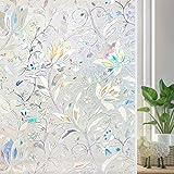 60x200CM Vinilo para Ventana Privacidad 3D Decorativa del Vidrio Autoadhesiva con Electricida Estática para Baño Cocina Control de Calor y Anti UV (tulipán)