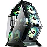 KEDIERS 7 PCS RGB Fans ATX Mid-Tower PC Gaming Case Open Computer Tower Case - USB3.0 - Remote Control - 2 Tempered Glass - Cooling System - Airflow - Cable Management (7 RGB Fans, Red)