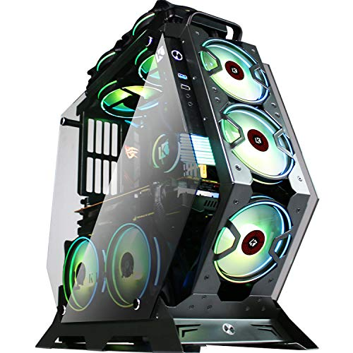 KEDIERS ATX Case Open Frame Panoramic Viewing Gaming Computer Pc Case Mid Tower Case 2 Tempered Glass 7 RGB Fans