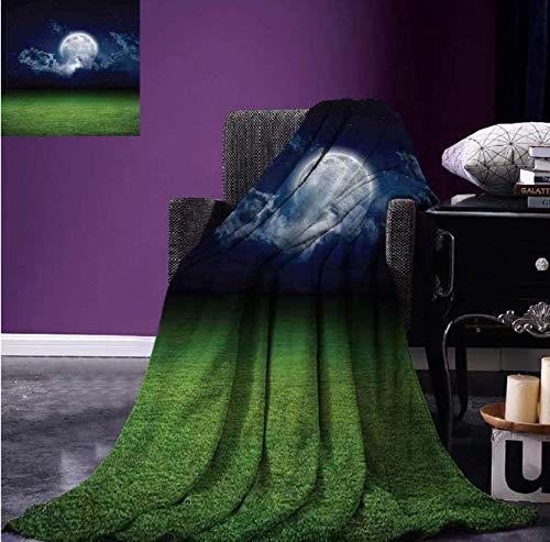 Décor de la Maison Decke für Rasen, Feld, Sport, Stadion, Wolkenhimmel, Nacht, mit Mond, Mystik, warm, Mikrofaser, 150 x 200 cm