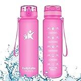 KollyKolla Gourde Sport - 350ml, Bouteille d'eau Reutilisable avec Filtre, Gourdes d'eau sans BPA Tritan, pour Enfant & Adulte, Anti-Fuite Flip Top en 1 Clic, Marqueur de Temps Rose Mate