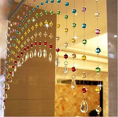 Pindia Glass Crystal Curtain, 3 X 6 Feet, Multicolour, Pack of 30