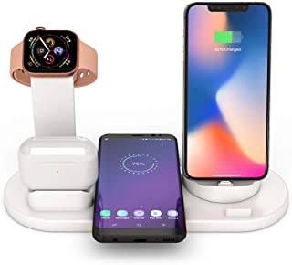 3 in 1 Qi Wireless Charger Station for iPhone AirPods Apple Watch Series 1 2 3 4, Qi Fast Wireless Charging Stand for iPho...
