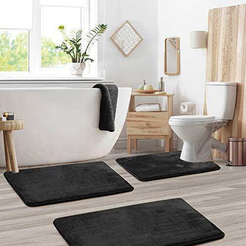 Clara Clark Memory Foam Bath Mat Sets 3 Piece - Non Slip, Absorbent, Soft Bath Rug Set - Fast Drying Washable Bath Mat - Large, Small, and Contour Sizes - Black
