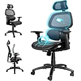 ComHoma Ergonomic Office Chair Breathable Mesh Desk Chair High Back Computer Chair with 3D Lumbar Support and Adjustable Headrest Flexible Armrests, 300 lbs Black