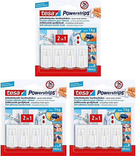 tesa Powerstrips Vario-Gardinenhaken / Selbstklebende Gardinenhaken ablösbar und mehrfach verwendbar (3er Pack Weiß)